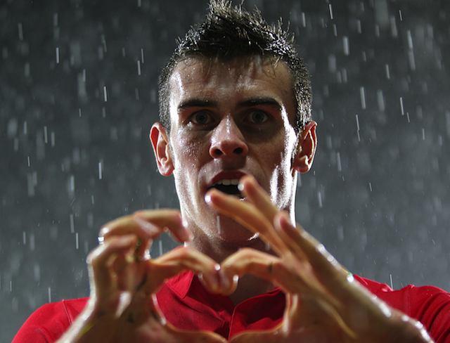 Gareth Bale's heart celebration
