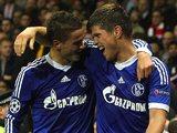 Klaas-Jan Huntelaar celebrates with Ibrahim Afellay