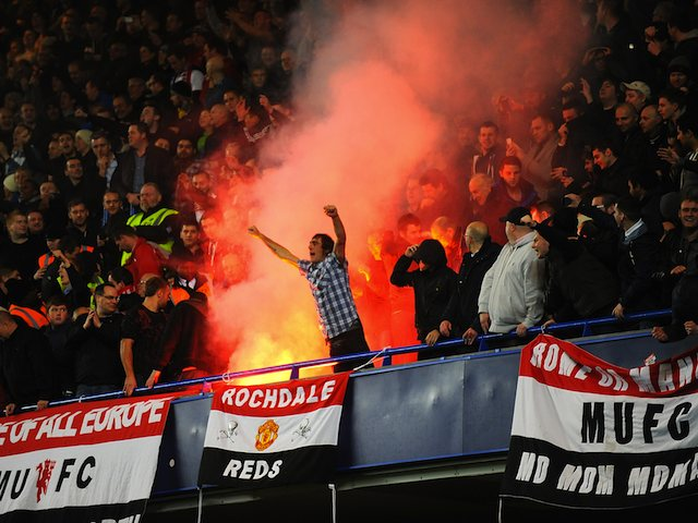United Fans Flares United Fans Let Off a Flare in