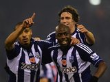 Peter Odemwingie celebrates scoring for West Brom