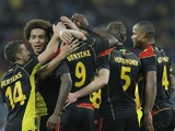 Belgium celebrate Christian Benteke's goal