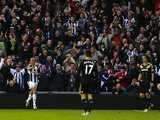 Peter Odemwingie celebrates scoring against Chelsea on November 17, 2012