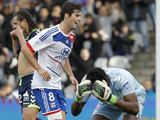 Yoann Gourcuff celebrates after Lyon go 1-0 up over Reims on November 18, 2012
