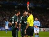 Alvaro Arbeloa is shown a red card on November 21, 2012