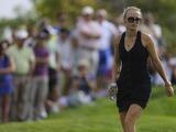 Rory McIlroy's girlfriend Caroline Wozniacki struts around the course on November 24, 2012