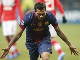 Dani Alves celebrates Barcelona's second goal on November 20, 2012