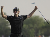 Justin Rose celebrates at the 18th after an excellent final round at the World Tour Championship in Dubai on November 25, 2012