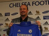 Rafael Benitez holds the Chelsea shirt as he is unveiled as manager on November 22, 2012