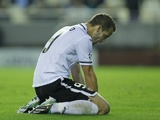 Valencia's Roberto Soldado after missing a chance on November 20, 2012