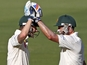 Australia's Michael Hussey and Michael Clarke celebrate against South Africa on November 22, 2012