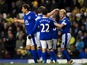 Everton's players congratulate Steven Naismith following his goal against Norwich on November 24, 2012