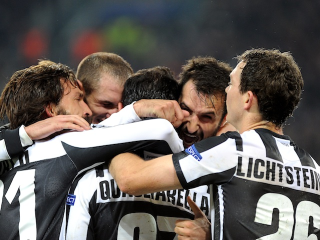 Fabio Quagliarella is mobbed by team-mates after scoring versus Chelsea on November 20, 2012