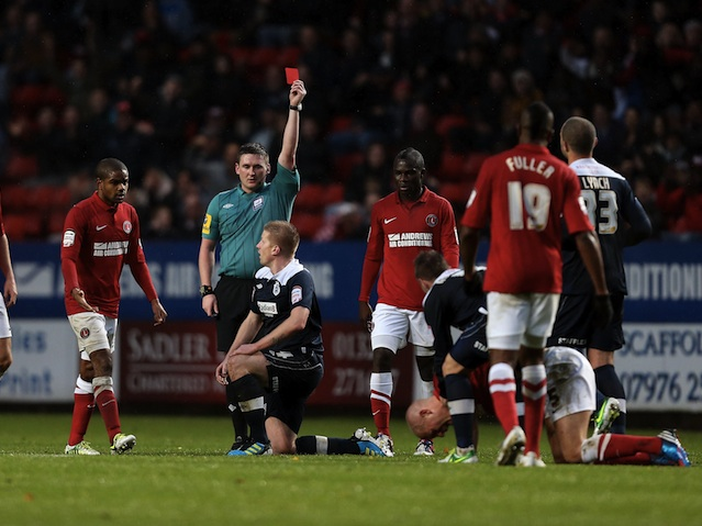 Huddersfield's Keith Southern is sent off against Charlton on November 24, 2012