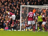 Carlton Cole scores West Ham's first on December 1, 2012