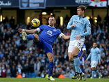 Edin Dzeko and Darren Gibson battle for the ball on December 1, 2012