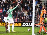 Gary Hooper celebrates moments after scoring the fourth goal for his team against Hearts on November 28, 2012