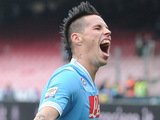 Napoli's Marek Hamsik celebrates after scoring against Pescara on December 2, 2012