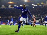Birmingham's Marlon King celebrates scoring a penalty on November 30, 2012