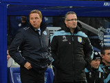 Queens Park Rangers manager Harry Redknapp and Aston Villa manager Paul Lambert stand together on the touchline on December 1, 2012