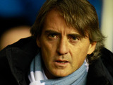 Manchester City manager Roberto Mancini during the match against Wigan on November 28, 2012
