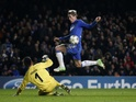 Chelsea striker Fernando Torres scores against Nordsjaelland on December 5, 2012