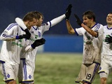 Dynamo Kiev players celebrate against Dinamo Zagreb on December 4, 2012