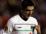 Hannover's Lars Stindl celebrates his goal on December 6, 2012
