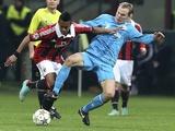 Milan forward Robinho shields the ball versus Zenit on