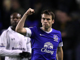 Seamus Coleman celebrates his team's win after the final whistle on December 9, 2012