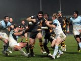 London Wasps' Andrea Masi breaks away on December 13, 2012