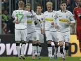 Borussia Monchengladblach's Thorben Marx celebrates scoring on December 14, 2012
