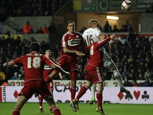 Middlesbrough's Seb Hines climbs highest but scores an own-goal on December 12, 2012