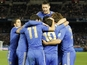 Chelsea players celebrate in their Club World Cup semi-final against Monterrey on December 13, 2012