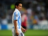 Malaga's Javier Saviola plays against Milan on October 24, 2012
