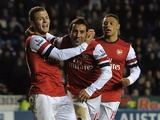 Arsenal's Santi Cazorla celebrates his hat-trick against Reading December 17, 2012
