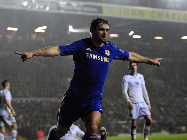 Chelsea's Branislav Ivanovic celebrates scoring his team's second goal on December 19, 2012
