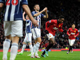 Gareth McAuley moments after scoring an own goal to put Manchester United a goal up on December 29, 2012