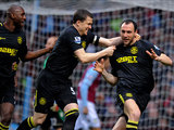 Ivan Ramis is congratulated by team mate Gary Caldwell after scoring the opener against Aston Villa on December 29, 2012