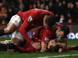 Ryan Giggs and Chris Smalling celebrate with Javier Hernandez after the Mexican's winner against Newcastle on Boxing Day 2012