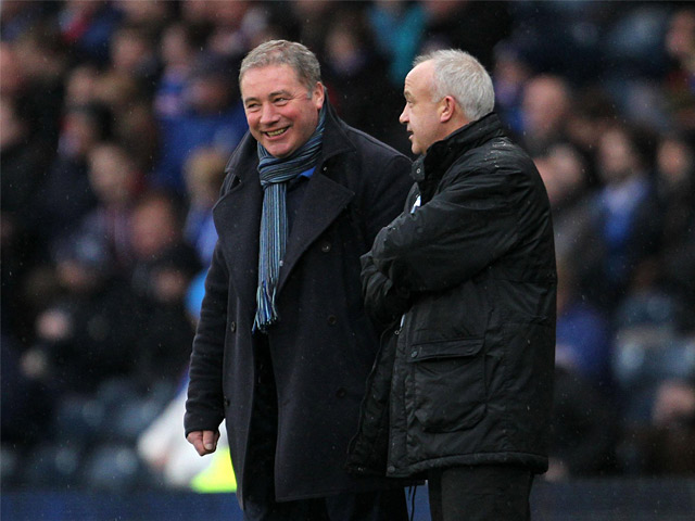 Rangers manager Ally McCoist and Queens Park manager Gardner Speirs on December 29, 2012