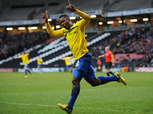 Coventry City's Franck Moussa celebrates scoring his goal on December 29, 2012