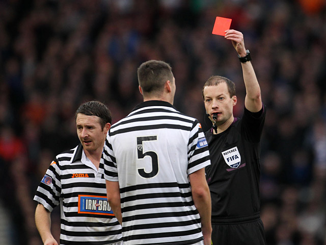 Queens Park's James Brough is shown the red card on December 29, 2012