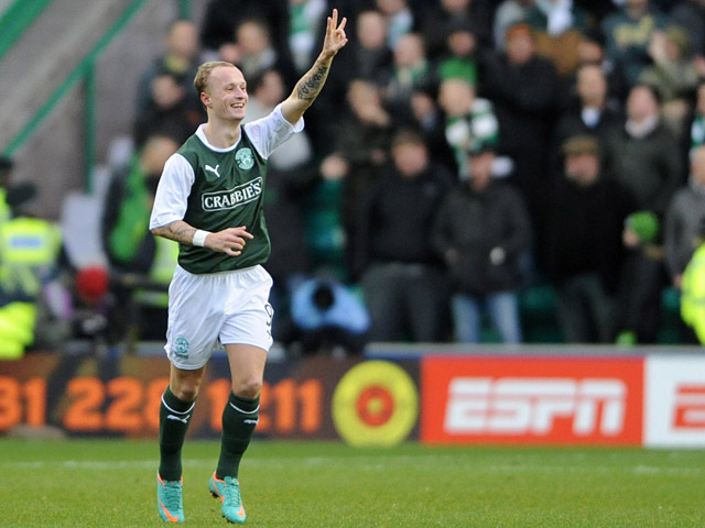 Hibernian's Leigh Griffiths celebrates after scoring the opener against Celtic on December 29, 2012