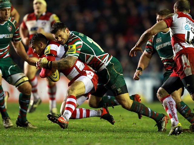 Gloucester Rugby's Martyn Thomas is tackled by Leicester Rugby's Niall Morris on December 29, 2012