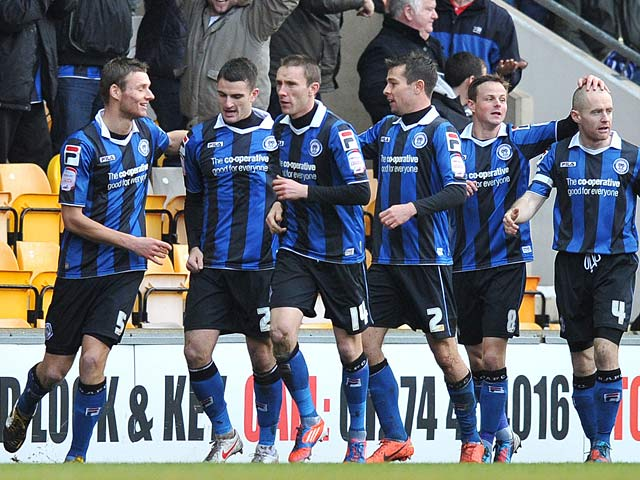 Terry Gornell is congratulated by team mates after scoring his first goal against Bradford on December 29, 2012