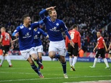 Leicester debutant Chris Wood celebrates his first goal against Huddersfield on January 1, 2013