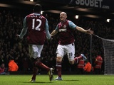 West Ham defender James Collins celebrates his equaliser against Man Utd with Ricardo Vaz Te on January 5, 2013