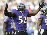 Veteran Ravens inside linebacker Ray Lewis reacts following a play against the Colts on January 6, 2013