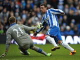 Brighton's Will Hoskins slots the second goal home against Newcastle on January 5, 2013