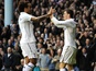 Spurs' Gareth Bale celebrates his goal with Tom Huddlestone against Coventry on January 5, 2013